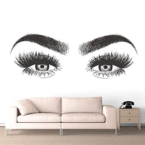 Salón de belleza Mujer Chica Ojo Pestañas largas Cejas Pestaña Ceja Maquillaje Vinilo Etiqueta de la pared Calcomanía de arte Tienda Tienda Dormitorio Sala de estar Decoración del hogar Mural