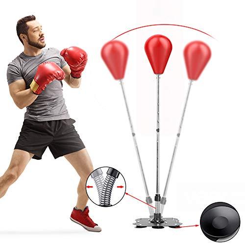 Eachbid Saco de Boxeo de Pie Punching Ball con Base, Estable para Entrenar Reflejos y Coordinación Ajustable en Altura para Suelos de baldosas cerámicas y Vidrio (Rojo)