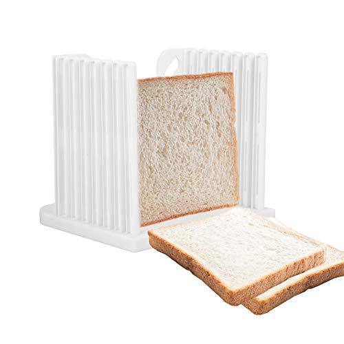 Slicer Brotschneider, Toast Brot Schneide, Brotschneidemaschine Manuell, Kunststoff-Brotschneider, Loaf Slicer, Weiß