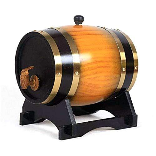 OhLt-j La madera de roble del barril de vino, Madera Especial del barril de vino 1.5L dispensador y almacenamiento Compartimiento de la cerveza Barriles de whisky de crianza en barrica de cerveza puer