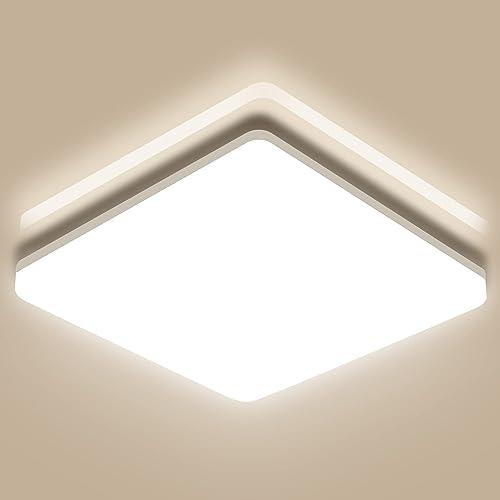 Oeegoo 18W Plafonnier LED Carré 28 CM, 1800LM Eclairage Salle de bain IP44 Étanche, Lampe de Plafond pour Chambre, Co...