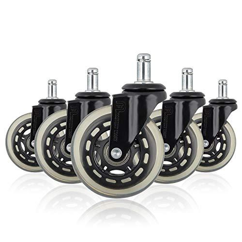 Mastery Mart Hartbodenrollen Ersatz Räder für Bürostuhl Sehr leise Bürostuhlrollen Bodenschutzmatte für die meisten Drehstuhlrahmen 11x22mm 5er Set (Matt-schwarz)