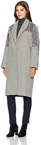 Halston Heritage Women's Long Sleeve Wool/Faux Fur Combo Coat