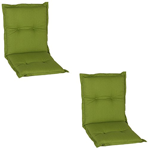Beo Nice NL AU31 Low-Backed Chair Cushion with Comfortable Seat and Low-Backed Chair Approx. 100 x 52 cm, 7 cm Thick, Pack of 2, Green