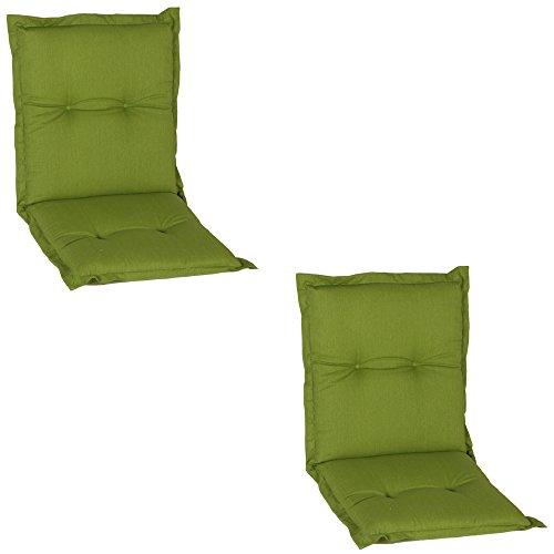 beo Niedriglehner AU31 Nice NL Luxus-Saumauflageangenehmer Sitzkomfort Niederlehner, circa 100 x 52 cm, 7 cm Dick, 2-er Pack, grün