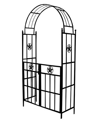 F-XW Outdoor Metal Arch Trellis, Garden Arbor with Gate for Climbing Plants Vine, Black, Easy Assembly, 3.7Ft Wide x 7.4Ft High