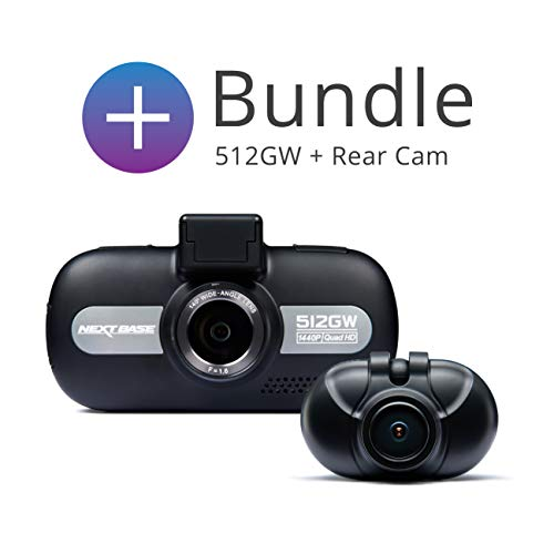 Nextbase 512GW and 512GWRC Bundle – Full 1440p HD In-Car DVR Dash Camera and Rear Cam - Front and Back Recording – WiFi and GPS – Anti-Glare Polarising Filter - Black