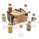 ECOBUNA ® Gewürzgläser - [12x] 150ml Gewürzdosen aus Glas mit Korken-Deckel - inklusive Glasmarker in weiß & schwarz - Glas Dose zur Dekoration - spülmaschinengeeignet