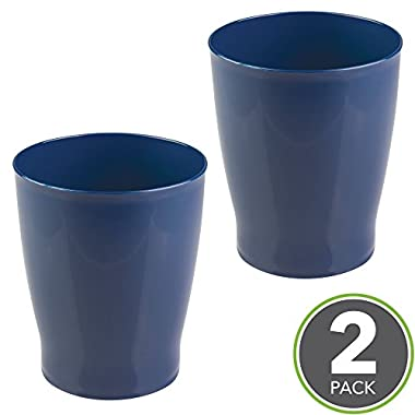mDesign Slim Round Plastic Small Trash Can Wastebasket, Garbage Container Bin for Bathrooms, Powder Rooms, Kitchens, Home Offices, Kids Rooms - Pack of 2, Navy Blue