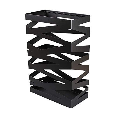 Sooiy Diseño Moderno Paraguas, paragüero, Hierro Forjado paragüero Grande Letra Simple Capacidad del Banco de Paraguas Paragüero Entrada paragüero Exterior del Cubo Paragüeros,Negro