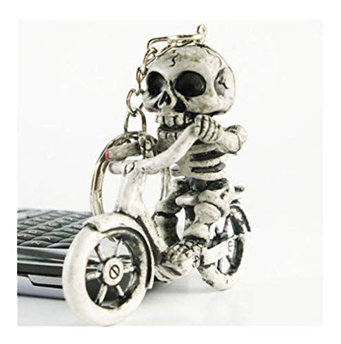 Popular Creative Bike Skull Purse Bag Rubber Keychain Keyring Gift Key Chain (Color : A)