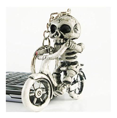Popular Creative Bike Skull Purse Bag Rubber Keychain Keyring Gift Key Chain (Color : A)