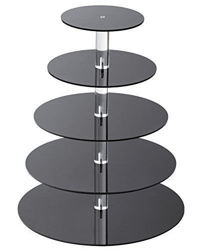SinoAcrylic Cupcake Stand - 5 Tiers Round Cupcake Tower - Tiered Serving Dessert Cake Holder - Unique Black Exquisite Plate - Perfect for Wedding, Birthday, Party, Baby Shower and Christmas