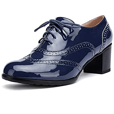 Odema Womens PU Leather Oxfords Brogue Wingtip Lace up Chunky High Heel Shoes Dress Pumps Oxfords