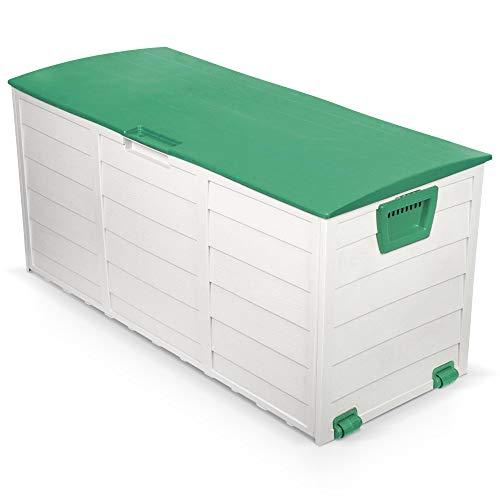 Coffre malle de jardin en plastique 230 l gris-vert