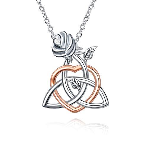 YAFEINI - Collar de nudo celta Collar de plata de ley con flor de rosa Buena suerte Joyería irlandesa para mujeres y niñas (collar de corazón de oro rosa)