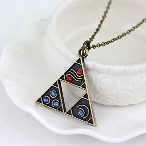 NA Anime Jewelry The Legend of Zelda Trifuerza Collar Tri¨¢ngulo Otaku Colgante Bronce Plateado Accesorios Vintage