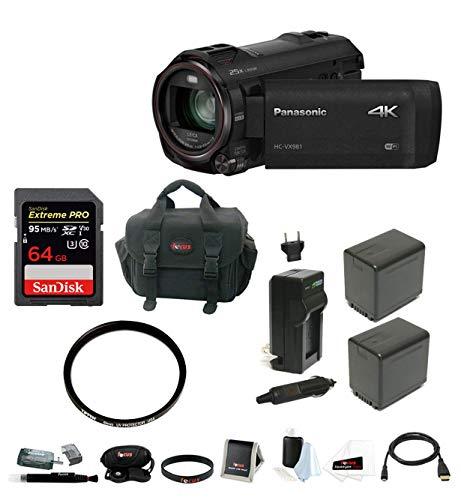 Panasonic HC-VX981K 4K Ultra HD Camcorder with 64GB Memory Card & Focus Accessory Bundle