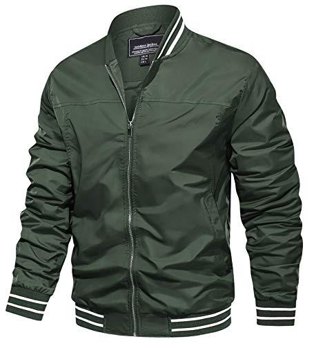 TACVASEN Men's Track Jackets Slim Fit Baseball Jacket Coat Outwear Windbreaker Green, 2XL