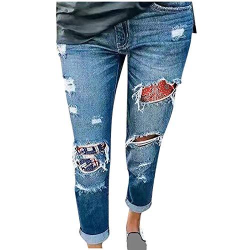 Ghemdilmn Zerrissene Jeanshosen Röhrenjeans Lange Jeans Skinny Denim Trousers Hohe Taille Skinny Stretch Schlanke Hosen Einfarbig Hose für Damen