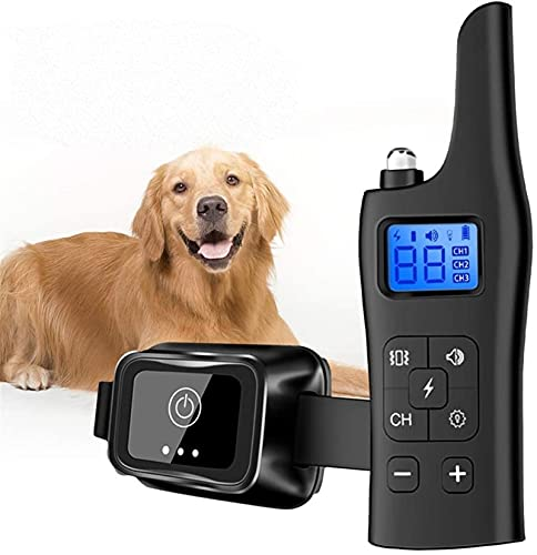 Collar De Adiestramiento para Perros Collar De Vibración De Carga USB Remoto 800 Metros IPX67 A Prueba De Agua con Pantalla LCD 3 Modos De Entrenamiento Zumbador/Vibración/Choque Ajustable (Negro)