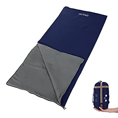 OUTAD Envelope Outdoor Sleeping Bag, Ultra-light Portable Waterproof Spring, Summer & Fall Camping Hiking Sleeping Bag with Compression Bag
