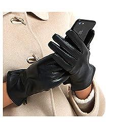 Harssidanzar Damen Luxus Italienischen Schaffell Lederhandschuhe Kaschmir Gefüttert Touchscreen, Schwarz, S