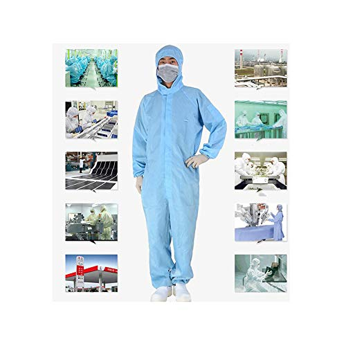 Egsve Coverall Hazmat Isolation Suit Disposable Protective Clothing, Disposable Protective Clothing, Protective Jacket Polyester Antistatic Waterproof (Blue, XXXL)