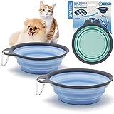 BPS 2Pcs Comedero Bebedero Plegable para Mascotas Perros Gatos Cuenco Portátil Silicona de Viaje Color Azar (M: Diametro 15.5 cm) BPS-5726*2