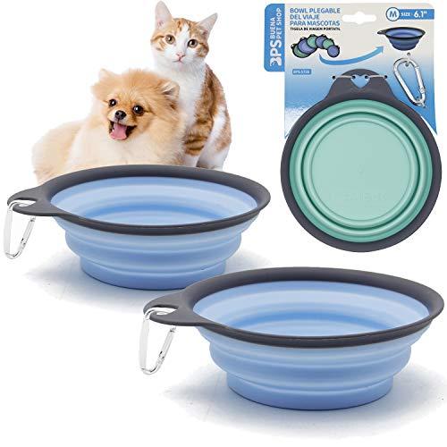 BPS 2Pcs Comedero Bebedero Plegable para Mascotas Perros Gatos Cuenco Portátil Silicona...