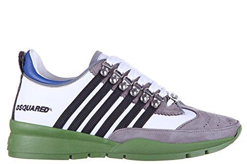 Dsquared2 scarpe sneakers uomo in pelle nuove vitello 251 bianco