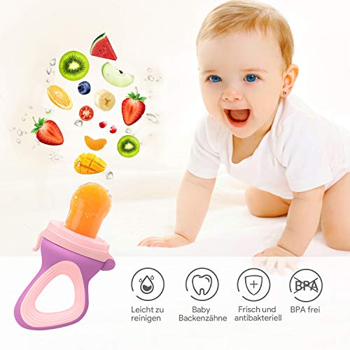 Oladwolf Fruchtsauger für Baby & Kleinkind, Silikon Schätzchen Schnuller für Obst und Gemüse Brei Beikost, BPA frei, 5PCS Professionelles Baby-Beißring Sauger in 3 Größen - 2
