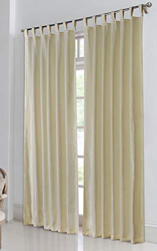 Thermo Ösen Vorhang mit Polar Fleece Rücken - 20500-350gr./m², Gardine Matt Verdunkelungsstoff Blickdicht. 245cm x 140cm (HxB), Creme Schlaufen 20500, 20500
