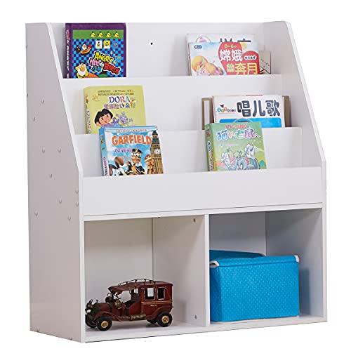 Estantería de 3 capas con 2 compartimentos grandes de MDF 73 x 30 x 80 cm, estantería para niños y niños, organizador de almacenamiento, color blanco