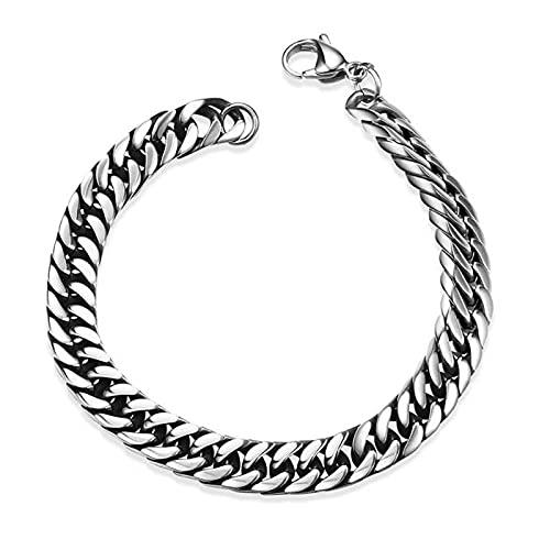 Pulsera de cadena para hombre, 21 cm, acero inoxidable