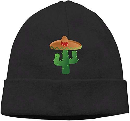 NA Mode Effen Kleur Cactus met Sombrero Horloge Cap voor Unisex Zwart