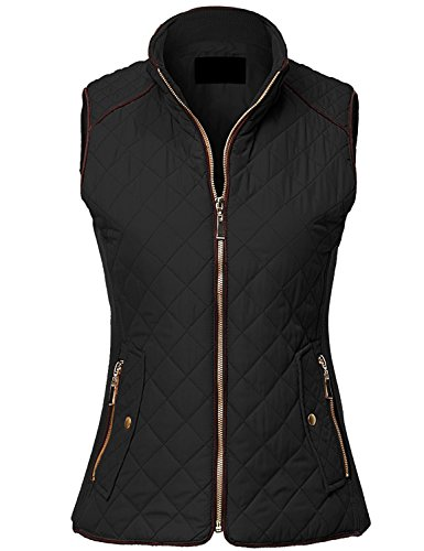 MAYSIX APPAREL Sleeveless Lightweight Zip Up Quilted Padding Vest Jacket For Women BLACK 3XL