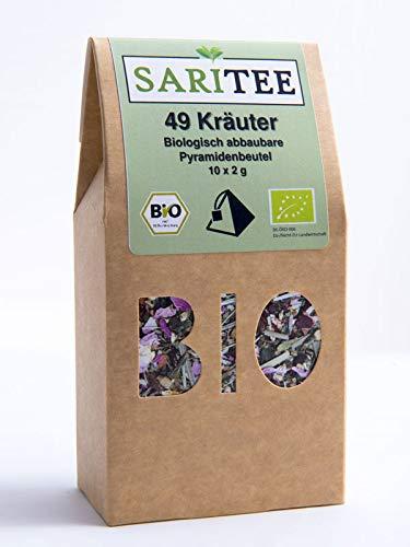 """SariTee - BIO - Basischer Tee \""""49 Kräuter\"""" im biologisch abbaub. Pyramidenbeutel"""