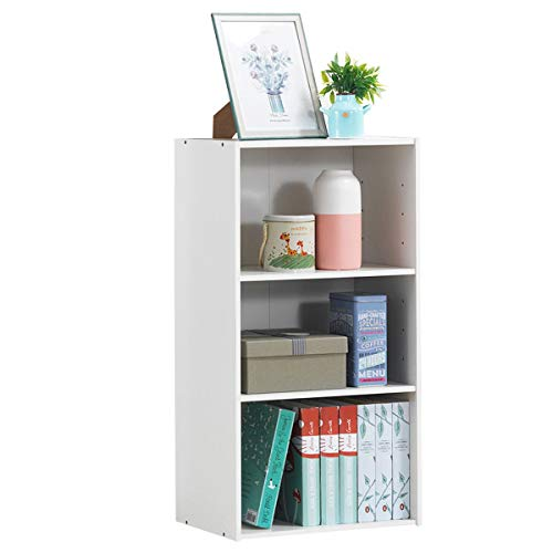 Giantex 3 Shelf Bookcase Book Shelves Open Storage Cabinet Multi-Functional Home Office Bedroom Furniture Display Bookcases (White)