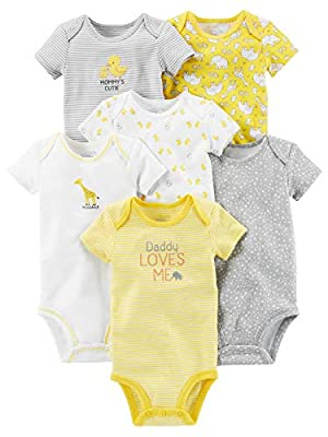 Simple Joys by Carter's Baby 6-Pack Neutral Short-Sleeve Bodysuit, Yellow/Gray, 24 Months
