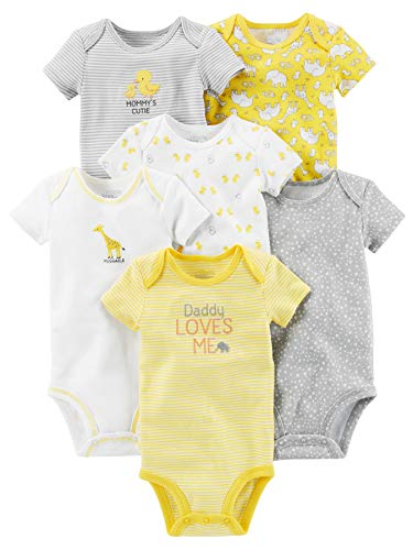 Simple Joys by Carter's Baby 6-Pack Neutral Short-Sleeve Bodysuit, Yellow/Gray, 18 Months