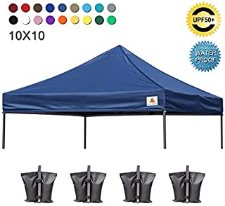 ABCCANOPY Replacement Top Cover 100% Waterproof (18+ Colors) 10x10 Pop Up Canopy Tent Top, Bonus 4 x Weight Bags (Navy Blue)