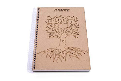 Cuaderno A5, cuaderno de espiral, multiusos, álbum de fotos con grabado de árbol, tapa dura, madera (páginas en blanco 160/hoja 80)