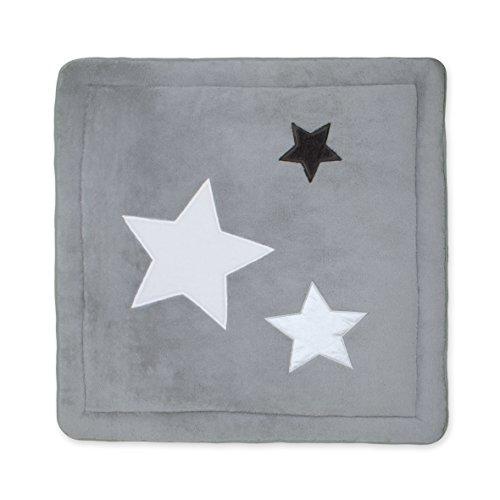 BEMINI - Tapis de Parc - 100 x100 cm - Collection Stary - motifs étoiles Gris foncé  - en Softy