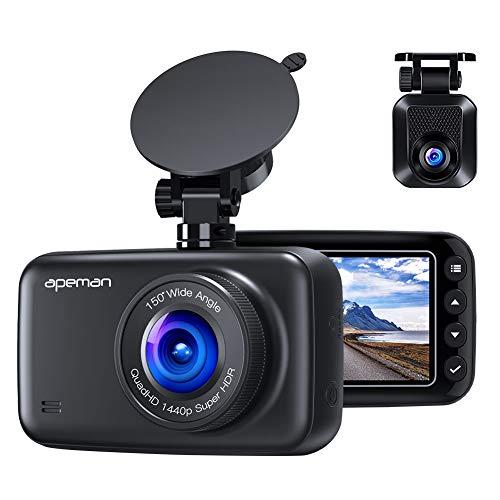 APEMAN ドライブレコーダー 前後カメラ デュアルレンズ 1440P フルHD 2カメラ WDRドラレコ リアカメラ 2.7...