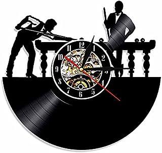 GJHK Horloge de Vinyle Nostalgique rétro de la Billard Sports Decoration Decoration Accueil Horloge Murale (30 * 30 * 4cm)