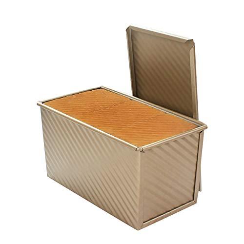 CANDeal Für 450g Teig Toast Brot Backform Gebäck Kuchen Brotbackform Mold Backform mit Deckel(Gold-Rechteck-Welle)