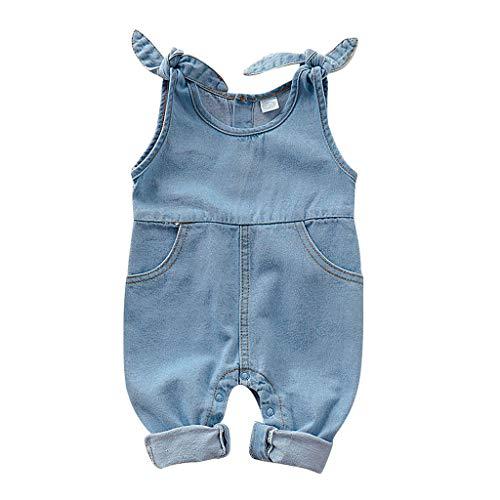Yanhoo Neugeborenes Baby Mädchen Jungen ärmellose Feste Jeans Overall Trägerhose 193252 (0-24M) Baby-Overall für Kinder aus ärmellosem Denim