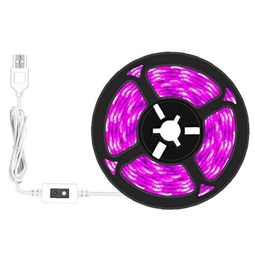Odoukey Planta de Cultivo de Interior de la lámpara Cadena Full Spectrum 5V Impermeable Powerd USB luz de Tira LED para la decoración del hogar de Efecto Invernadero 0.5m