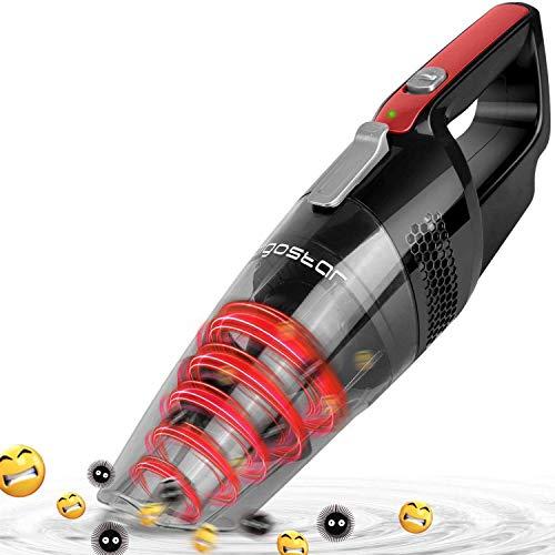 Aigostar Mars 33LBY - Aspirador de mano ciclónico inalámbrico, succión en seco y húmedo, batería recargable 2050mAh, depósito 500ml, filtro HEPA. Diseño exclusivo.